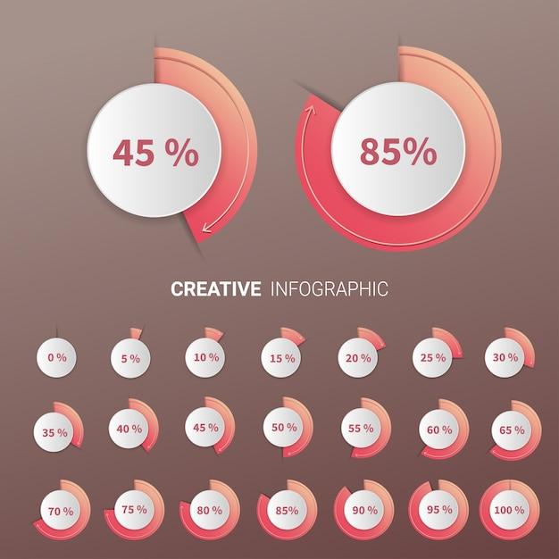 Набор круговых процентных диаграмм Premium векторы