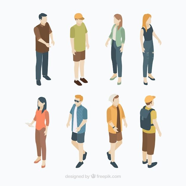 Set of citizens in isometric perspective Free Vector