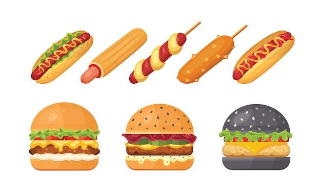 飛んでいる材料とホットドッグを使ったクラシックなハンバーガーのセット。ハンバーガーとホットドッグのアイコン。ファーストフードセット。 Premiumベクター