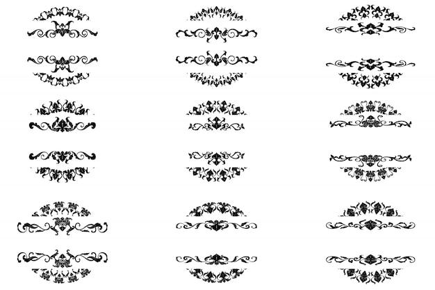 Набор классического орнамента flourish ornament vintage border art декоративный Premium векторы