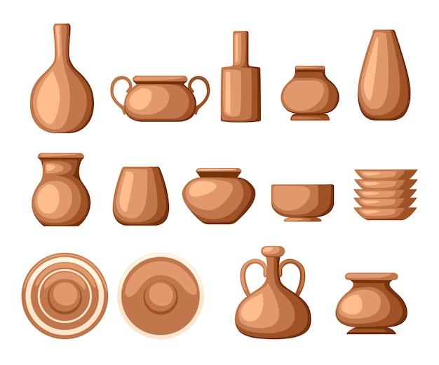 Набор глиняной посуды. посуда посуда - тарелки, кувшины, кастрюли. коричневая глина. иллюстрация Premium векторы