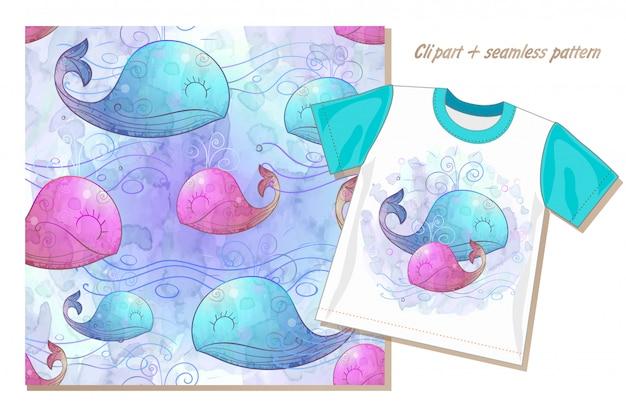 クリップアートとかわいいクジラとのシームレスなパターンのセット Premiumベクター