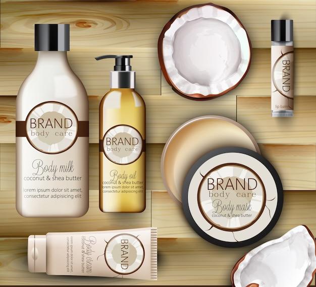 Набор средств по уходу за телом coconut с кремами, бутылками шампуня, молоком, маской и бальзамом для губ Бесплатные векторы