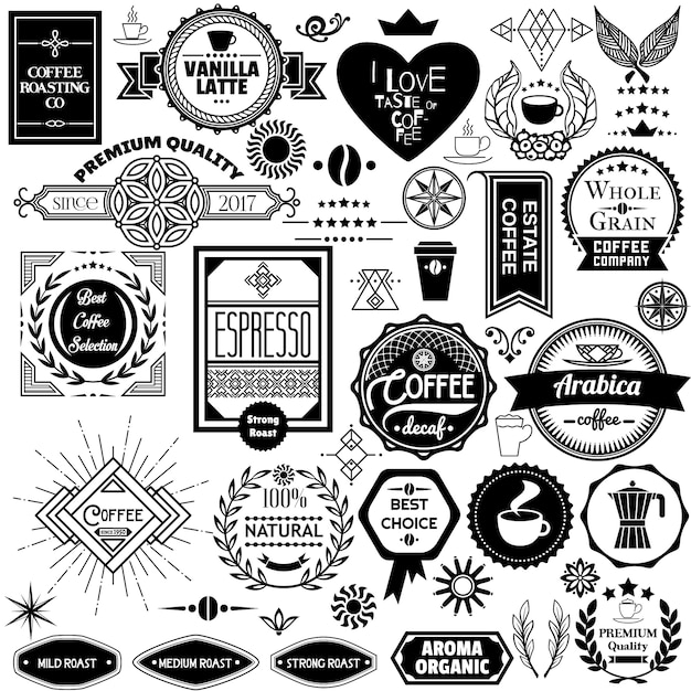 Set of coffee badges, labels and stickers Free Vector