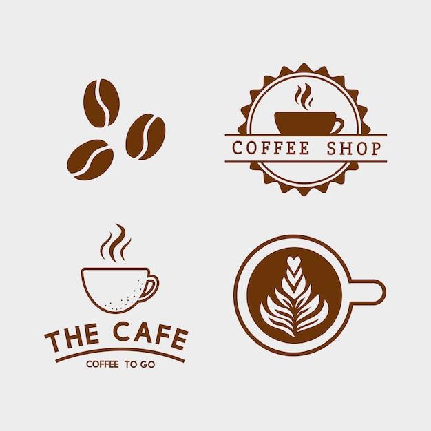 커피 요소와 커피 액세서리 벡터의 집합 무료 벡터