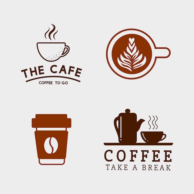 커피 요소와 커피 액세서리 세트 무료 벡터