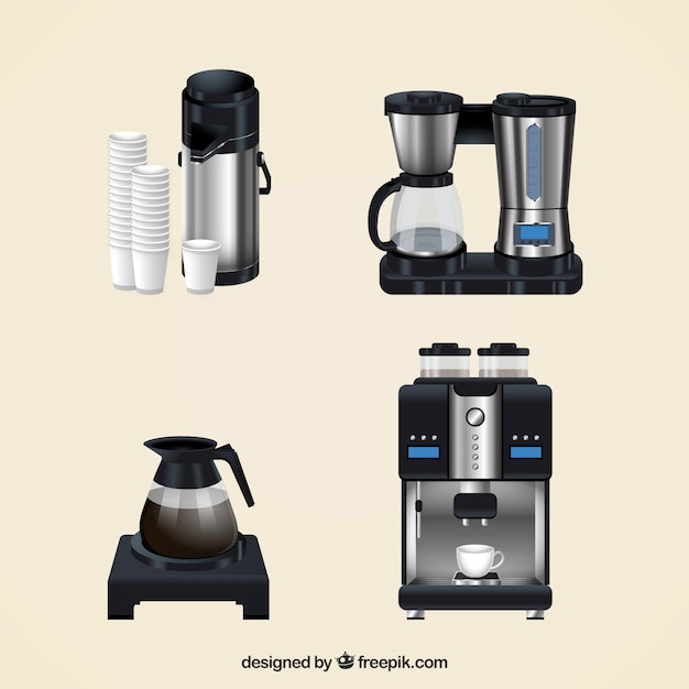Coffee Maker Set : Set of coffee makers in realistic style Vector Free Download