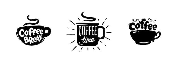 Набор кофейных котировок графической эмблемы Premium векторы