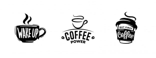 Набор кофе цитирует графику, логотипы, этикетки и значки. Premium векторы