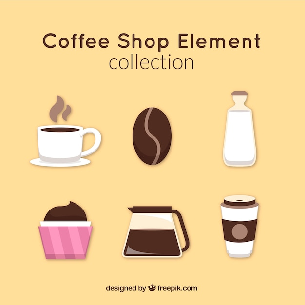 Set of coffee shop accessories