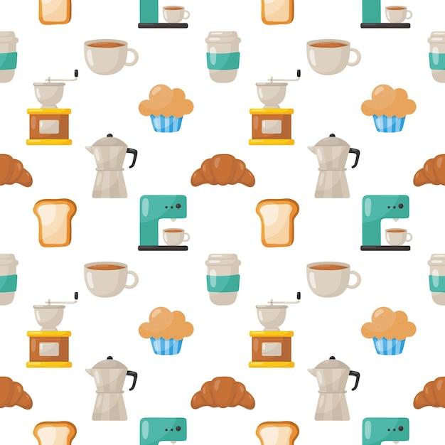 Набор кофейных иконок шаблон бесшовные изолированные Premium векторы