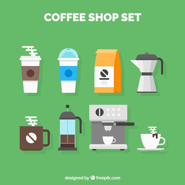 Set of coffee shop utensils