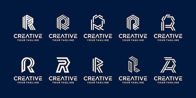 コレクションの頭文字rロゴテンプレートのセット。 Premiumベクター