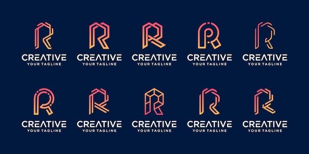 コレクションの頭文字rrrロゴテンプレートのセット。 Premiumベクター