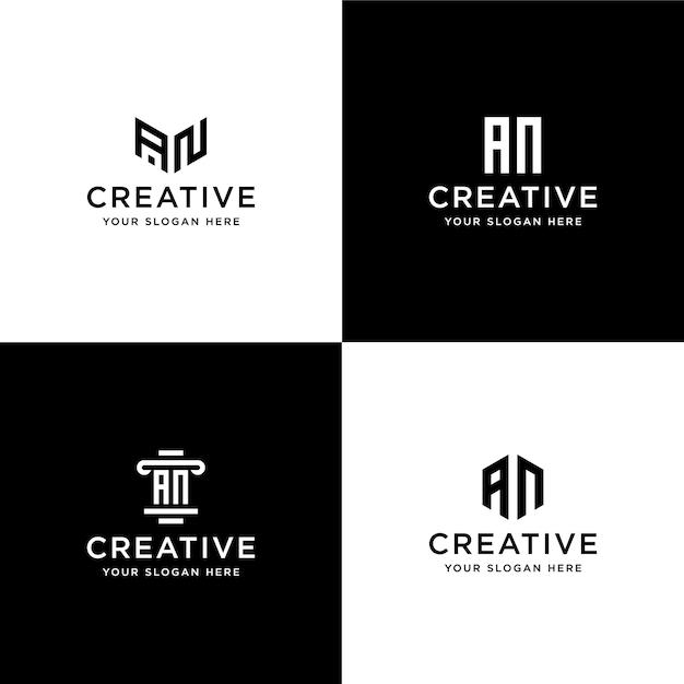 コレクションのイニシャルのセットanロゴデザインテンプレート Premiumベクター