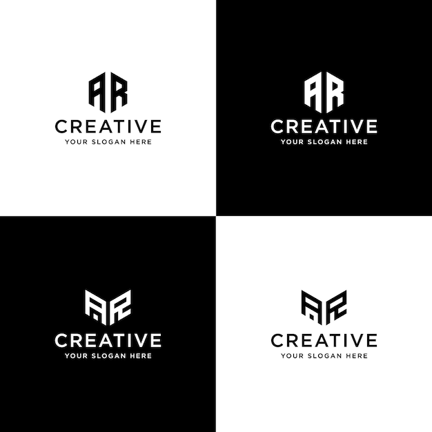 コレクションのイニシャルのセットarロゴデザインテンプレート Premiumベクター