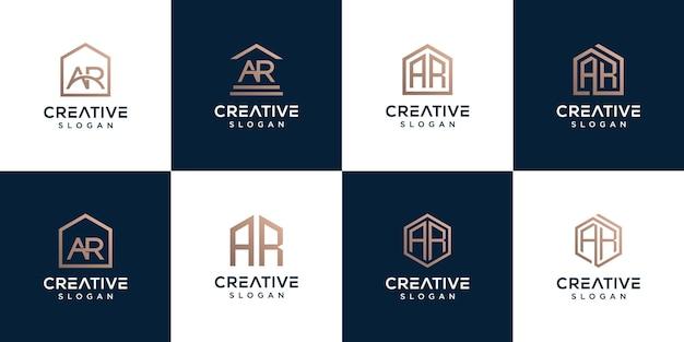 コレクションのロゴ文字のセットarと家の組み合わせ Premiumベクター
