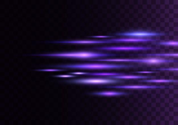 Набор цветных горизонтальных лучей, линз, линий. лазерные лучи. синий, фиолетовый светящийся абстрактный игристое выстроились прозрачный фон. вспышки света, эффект. Premium векторы