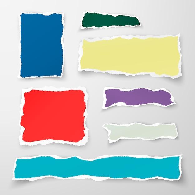 Набор кусочков цветной рваной бумаги. макулатура. иллюстрация на белом фоне Premium векторы