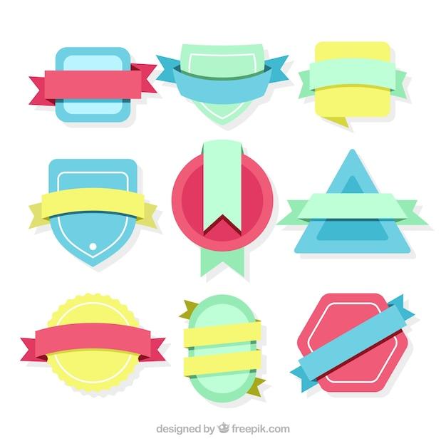 مجموعه ای از نشان های رنگی با روبان در سبک های پرنعمت