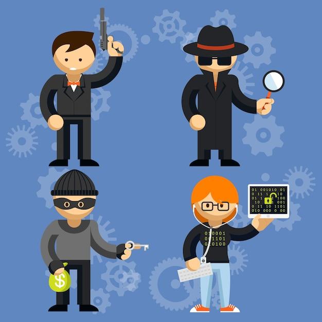 拳銃泥棒探偵とハッカーを振るう男と犯罪活動に関与する色付きの漫画のベクトル文字のセット 無料ベクター