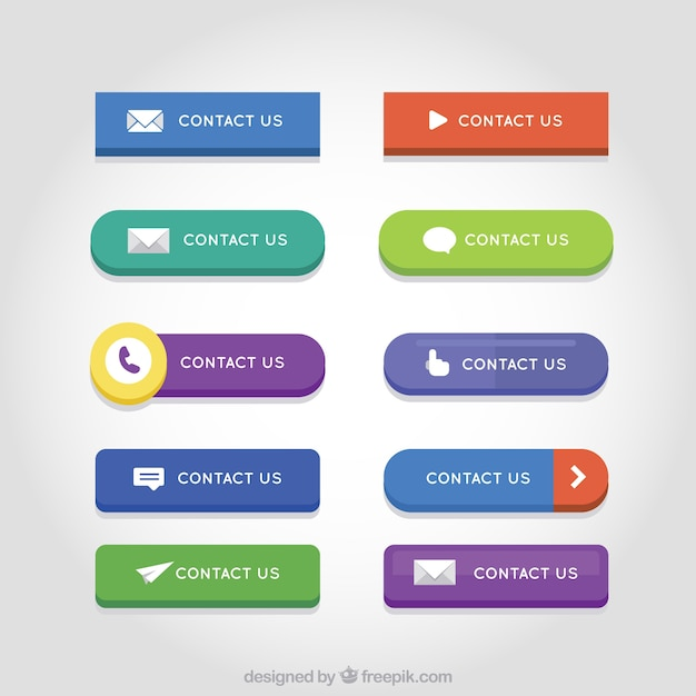 Set of colored contact web buttons  Free Vector