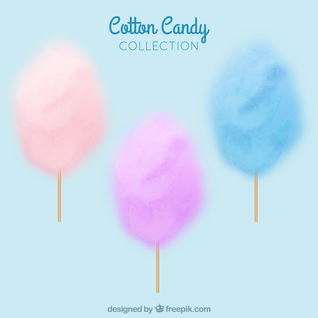 Set of colored cotton candy