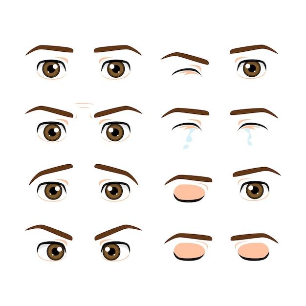 色のかわいい男性の目と異なる表情の眉毛のセット Premiumベクター