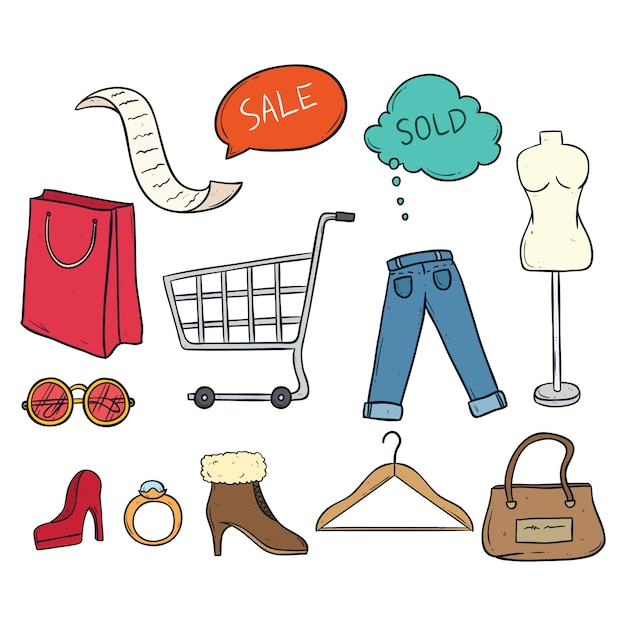 Набор цветных каракулей время покупки с женщинами ткань и аксессуары Premium векторы