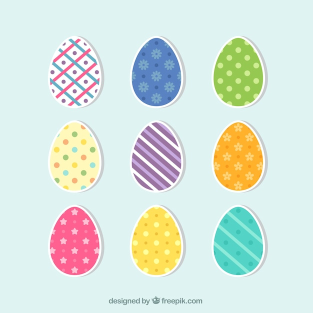 Set of colored easter egg stickers