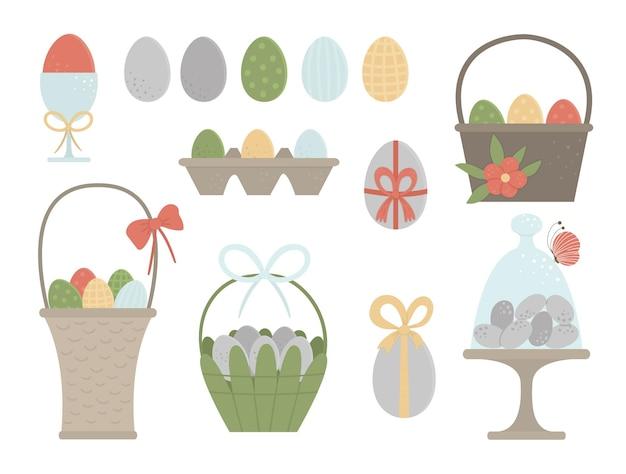 Набор крашеных яиц и корзин с бантами, бабочкой и цветами. традиционные пасхальные и элементы дизайна. сборник весны. Premium векторы