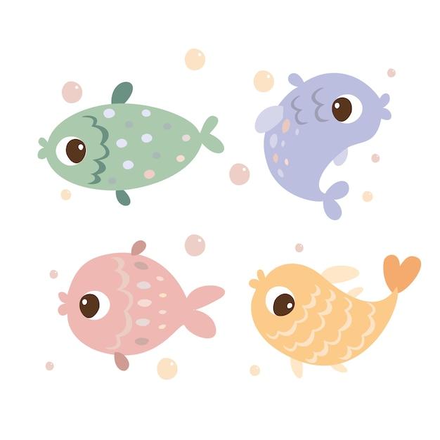 色付きの魚のセット 無料ベクター