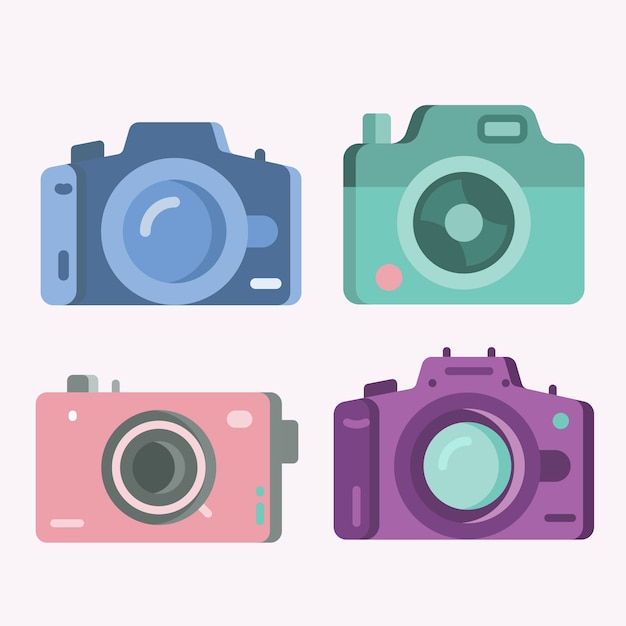 Set of colored flat vintage cameras