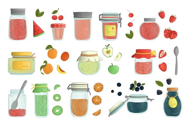白い背景で隔離の色付きガラスジャム瓶水彩スタイルのセット。フルーツとベリーの入った鉢植えの保存食品のカラフルなコレクション。 Premiumベクター