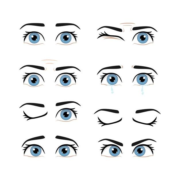 色の男性の目とさまざまな表情の眉毛のセット Premiumベクター