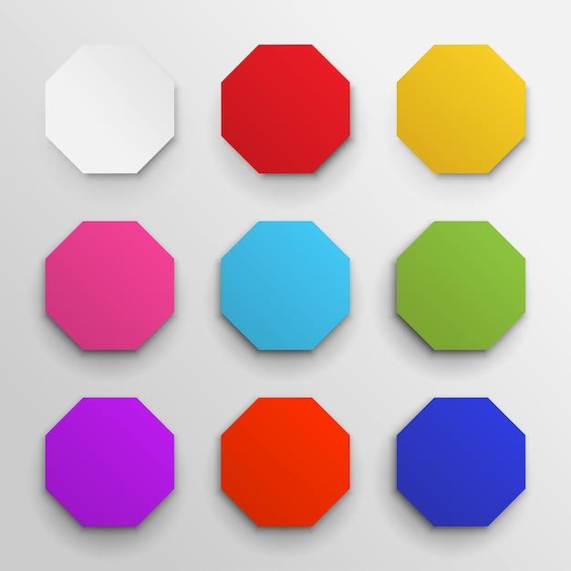 色付きの八角形のアイコンパックのセット。 Premiumベクター