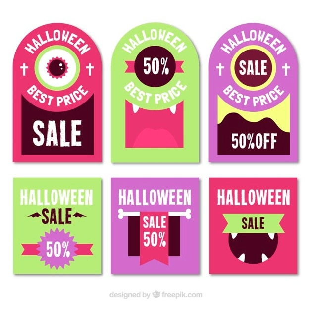 Set of colored sales stickers