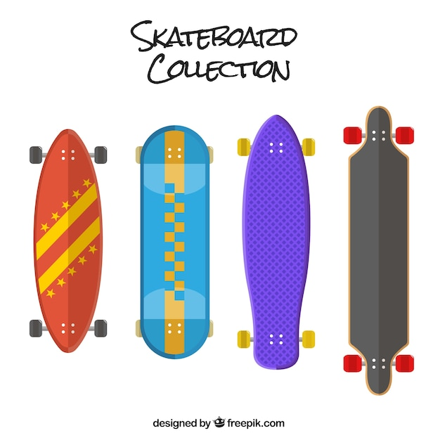 Set of colored skateboards in flat\ design
