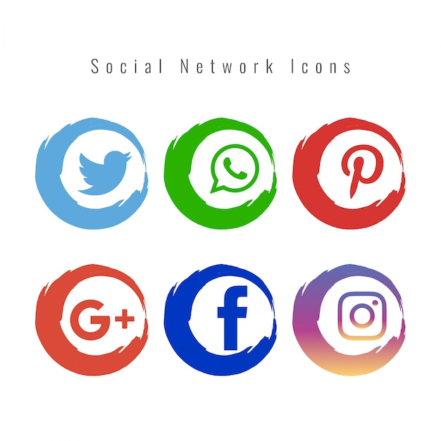 Set of colored social media icons Free Vector