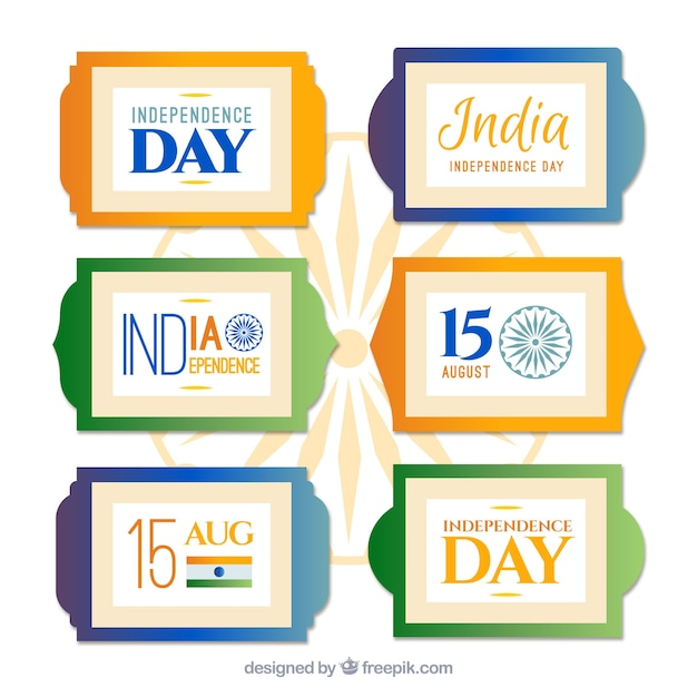 Set of colored stickers independence day of india