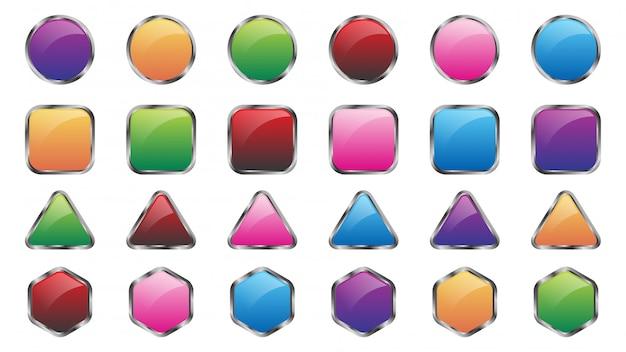 Набор цветных веб-кнопок шаблона Premium векторы