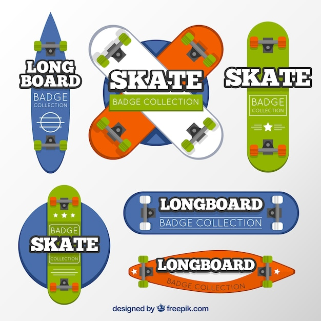 Set of colores skateboard labels