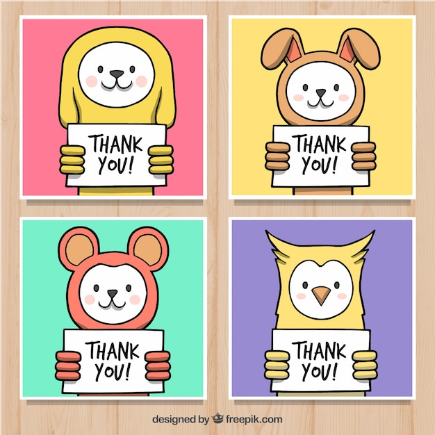 set of colorful animal cards with thank you posters vector free