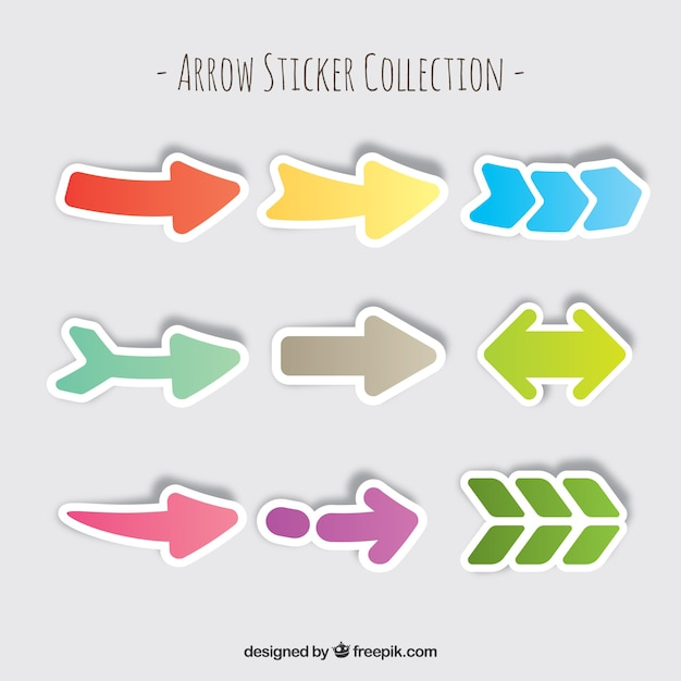Set of colorful arrow stickers