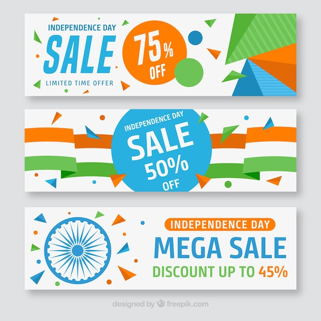 Set of colorful banners of india independence day offer