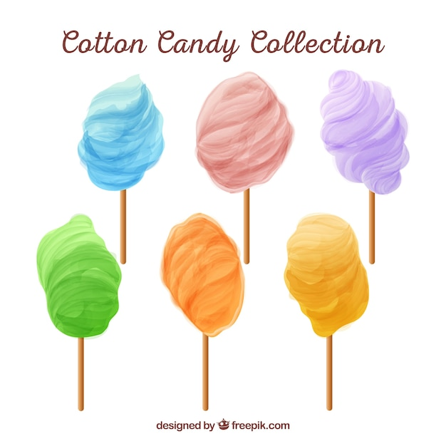 Set of colorful candy cottons