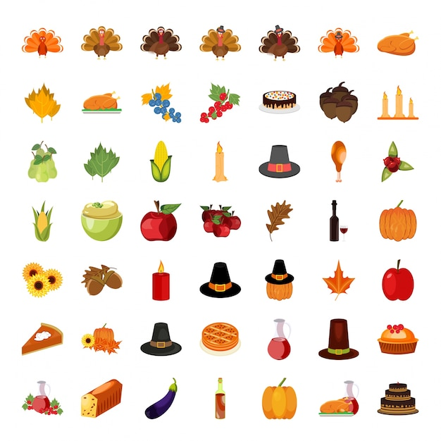 set of colorful cartoon icons for thanksgiving day vector free