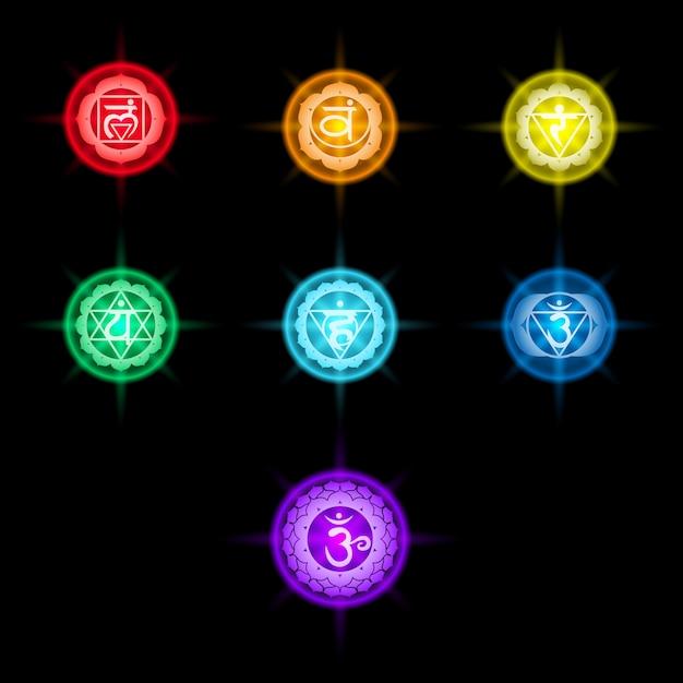 Набор красочных иконок чакр Premium векторы