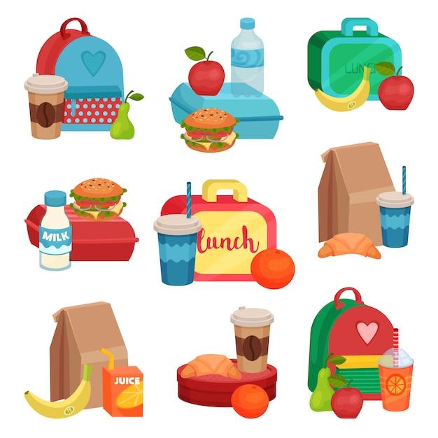 Набор красочных композиций со школьной едой. вкусная еда. вкусные фрукты, напитки и бутерброды Premium векторы