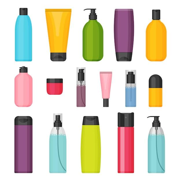 Набор красочных косметических бутылок. Premium векторы